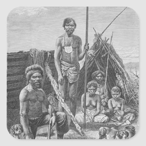 Queensland aborigines engraved from a photograph stickers