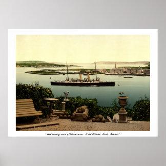Queenstown - Cobh Harbor Cork Vintage steam ship Poster