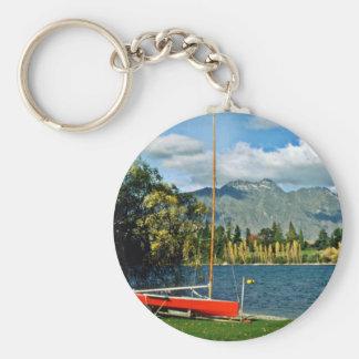 Queenstown Basic Round Button Keychain