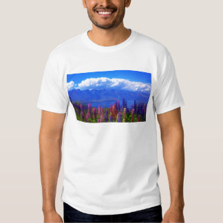 Queenstown New Zealand lupine over Lake Wakatipu T Shirt