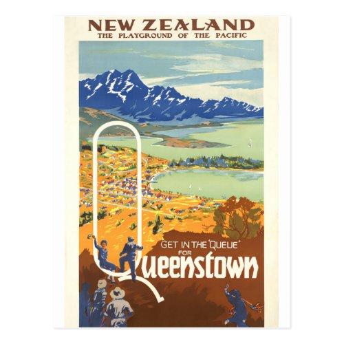 Queenstown New Zealand Vintage Travel Postcard