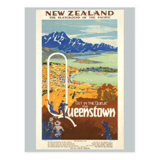 Queenstown, New Zealand Vintage Travel Postcard