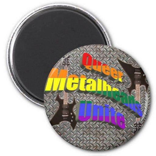 Queer Metalheads Unite 2 Inch Round Magnet