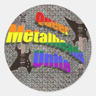 Queer Metalheads Unite Classic Round Sticker