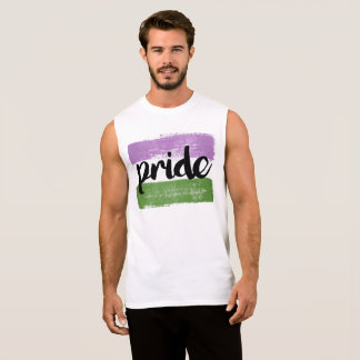 QUEER PRIDE CALLIGRAPHY - PAINTED QUEER PRIDE FLAG SLEEVELESS SHIRT