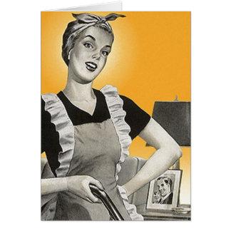Quehacer doméstico retro de los jardineros de los tarjeta pequeña