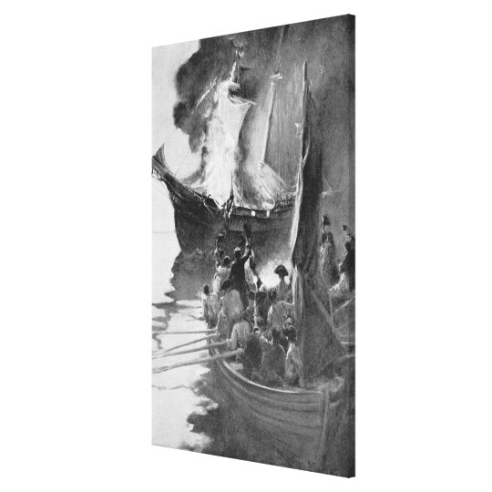 Quema del Gaspee Impresión En Lienzo
