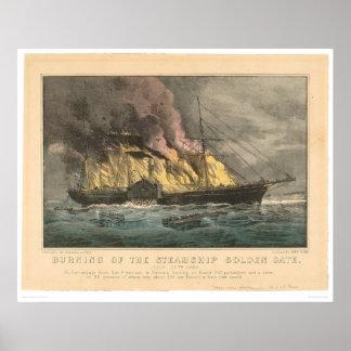 Quema del Golden Gate del buque de vapor (0144A) Poster