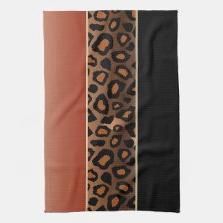 Quemado estampado de animales anaranjado y negro toalla de cocina