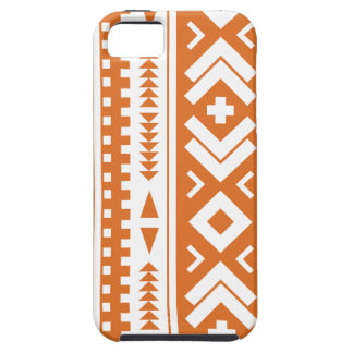 Quemado impresión tribal azteca anaranjada y blanc iPhone 5 carcasa