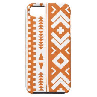 Quemado impresión tribal azteca anaranjada y iPhone 5 funda