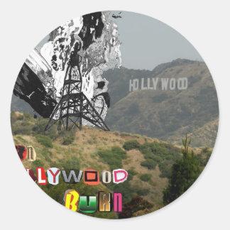 Quemadura de Hollywood de la quemadura Pegatina Redonda
