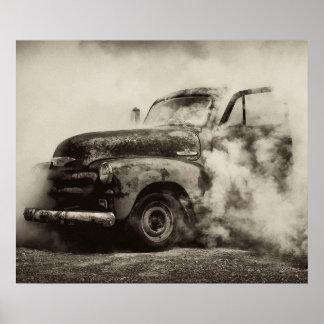 Quemadura del camión del vintage póster