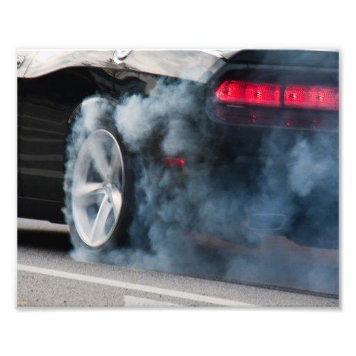 Quemadura negra del coche impresiones fotograficas