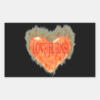 Quemaduras del amor pegatina rectangular