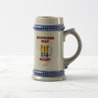 Quencherman listo, taza de cerveza, jarra de cerve