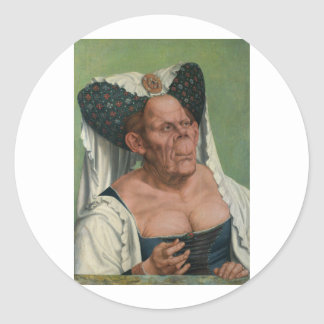 Quentin Massys - mujer mayor grotesca, 1515 Pegatina Redonda