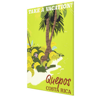 Quepos Costa rican vintage style travel poster Canvas Print