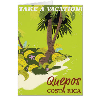 Quepos Costa rican vintage style travel poster Card
