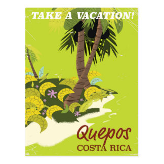 Quepos Costa rican vintage style travel poster Postcard