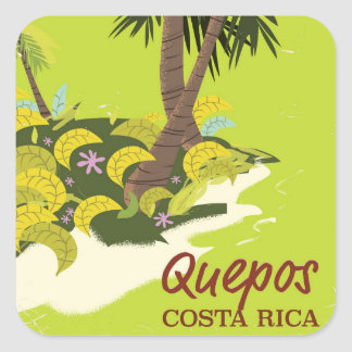 Quepos Costa rican vintage style travel poster Square Sticker