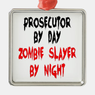 Querellante del asesino del zombi adorno navideño cuadrado de metal
