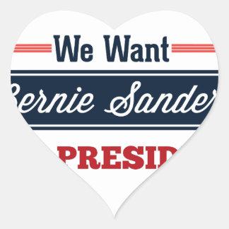 Queremos las chorreadoras de Bernie para el Pegatina En Forma De Corazón