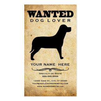 querido amante del perro tarjeta de negocio