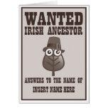 Querido - antepasado irlandés tarjeton