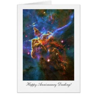 Querido feliz de Anniversay, nebulosa estrellada Tarjeta De Felicitación