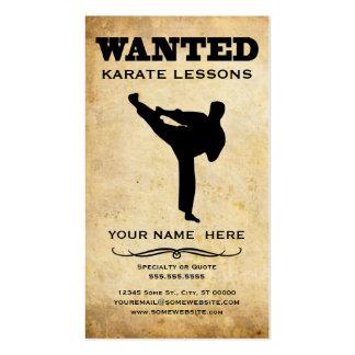 querido lecciones del karate plantilla de tarjeta personal