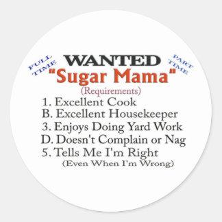 Querido - mamá del azúcar pegatina redonda
