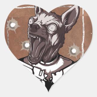Querido por el perro loco animal del FBI Pegatina En Forma De Corazón