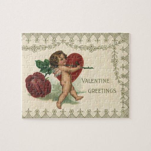 Querube de la tarjeta del día de San Valentín del Rompecabeza Con Fotos