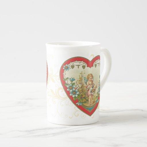 Querube de la tarjeta del día de San Valentín del  Taza De Porcelana