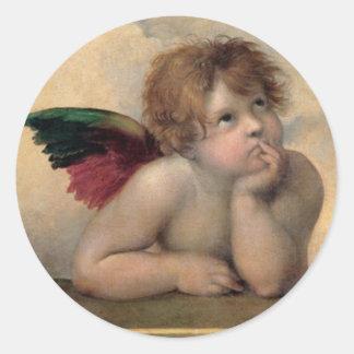 Querube de Sistine Madonna por Raphael Pegatina Redonda