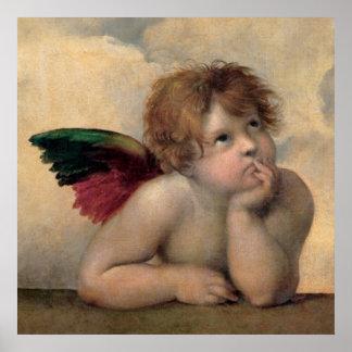 Querube de Sistine Madonna por Raphael Póster