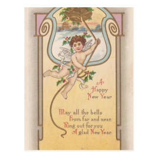 Querube del Año Nuevo del vintage Tarjeta Postal