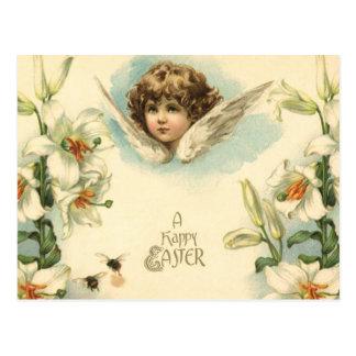 Querube del Victorian del vintage con los lirios d Postal