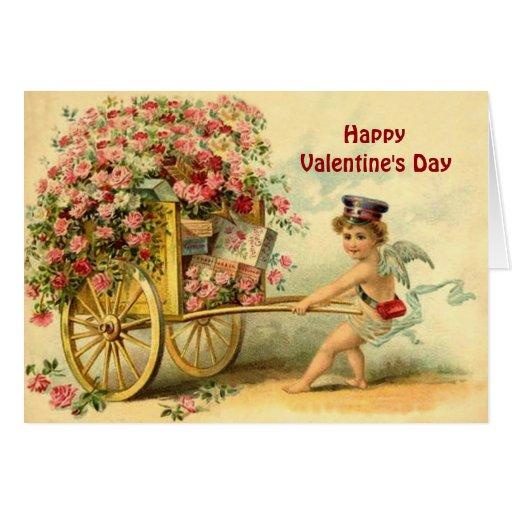 Querube del vintage y carro de regalos y de rosas tarjeta de felicitación