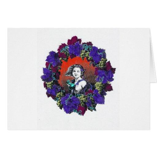 Querube en la guirnalda de la uva, fondo rojo tarjeta de felicitación