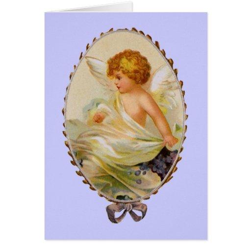 Querube enmarcada vintage tarjeta de felicitación