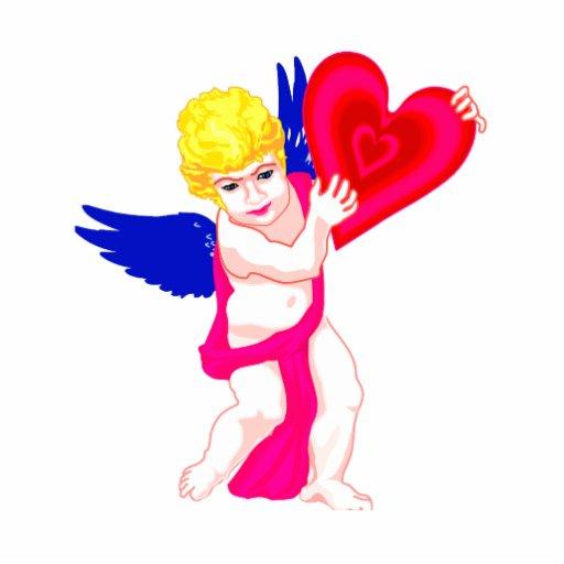 Querube que sostiene las alas del azul del corazón escultura fotografica