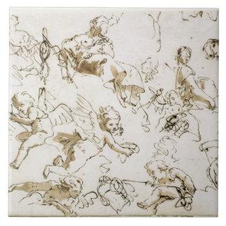 Querubes, comienzo del siglo XVIII (pluma y tinta  Azulejo Ceramica