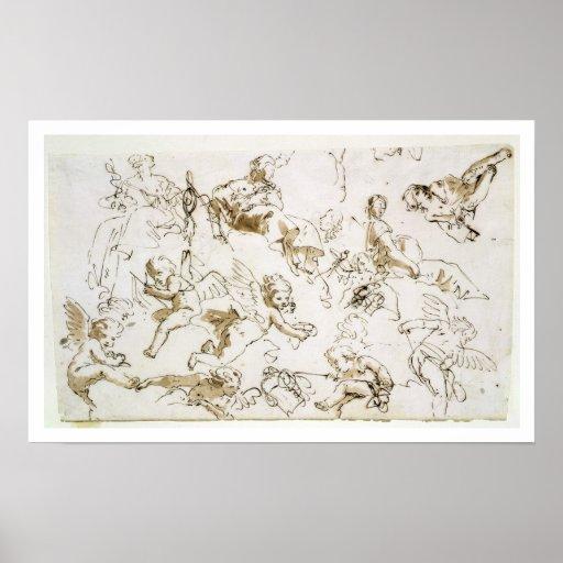 Querubes, comienzo del siglo XVIII (pluma y tinta  Impresiones