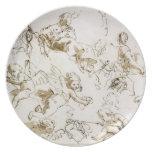 Querubes, comienzo del siglo XVIII (pluma y tinta  Platos Para Fiestas