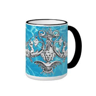 Querubes con el emblema naval de los tridentes taza a dos colores