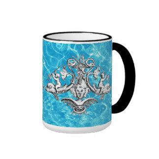 Querubes con el emblema naval de los tridentes taza de dos colores