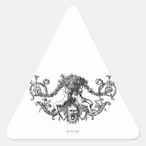 Querubes de la obra clásica dos con la hiedra y pegatinas trianguloes