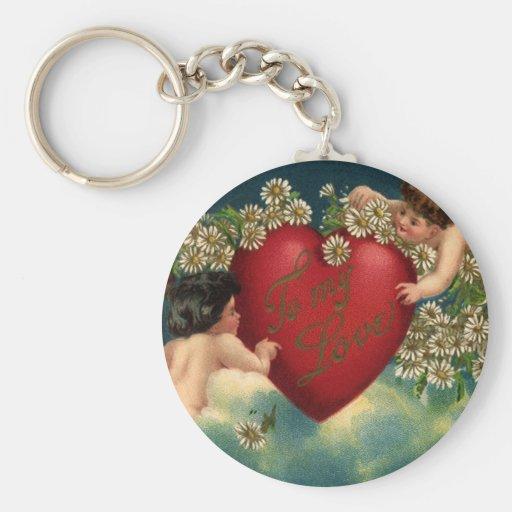 Querubes del día de San Valentín del Victorian del Llavero Redondo Tipo Pin
